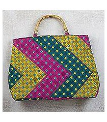 cotton handle handbag, 'chevron style' (ghana)