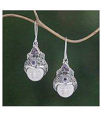 amethyst dangle earrings, 'celuk pangeran' (indonesia)