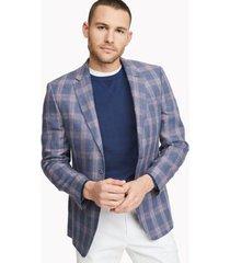 tommy hilfiger men's regular fit essential linen blazer blue/red - 42r
