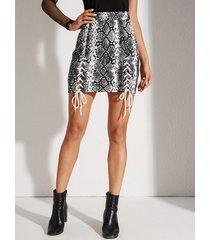 yoins gris con cordones diseño falda de cintura alta de piel de serpiente