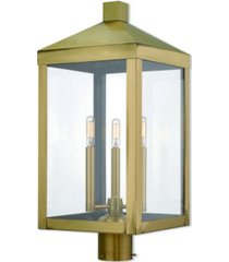 livex nyack 3-light outdoor post top lantern