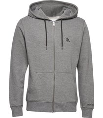 ck essential reg zip through hoodie grå calvin klein jeans