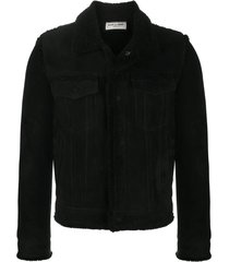 saint laurent boyfriend fitted leather jacket - black