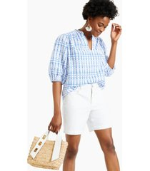 charter club printed woven split-neck top, created for macy's