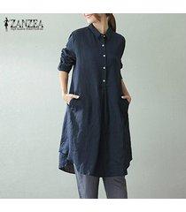 zanzea 2018 mujeres del resorte de la solapa de botones de manga larga vestidos retro casual bolsillos holgados sólido oficina de trabajo vestido más el tamaño m-5xl -azul