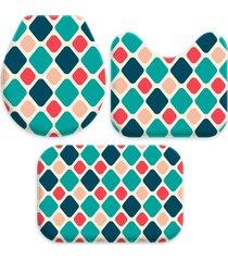 jogo tapetes love decor para banheiro geomã©trico multicolorido ãšnico - verde - dafiti