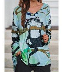 camicetta a maniche lunghe con scollo a v con stampa gatto dei cartoni animati plus