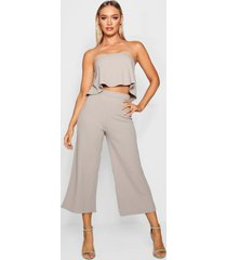 bandeau top & culottes co-ord set, grey