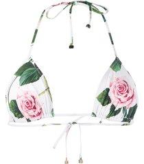 dolce & gabbana rose print bikini top - white