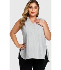 camiseta sin mangas sin mangas con cuello en v y diseño gris de talla grande yoins