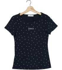 camiseta azul oscura-blanca mng