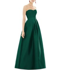 women's alfred sung strapless satin twill a-line gown, size 18 - green