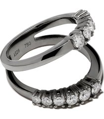 as29 18kt black gold white diamond icicle half double ring