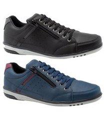 kit 2 sapatênis masculino casual preto e azul com ziper e elástico 750