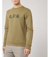 a.p.c. x carhartt men's ice h sweatshirt - khaki - s