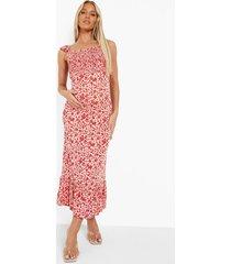 zwangerschap gesmokte bloemen jurk met geplooide schouders, pink