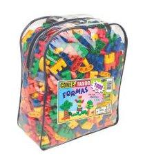 jogo conectando formas carlu blocos de montar 1000 peças colorido