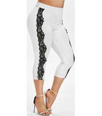 plus size contrast lace cropped leggings