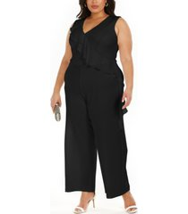 connected plus size ruffled wide-leg jumpsuit