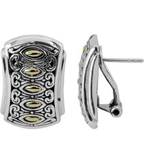 bali heritage classic stud clip earrings omega clasp in sterling silver and 18k yellow gold accents