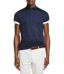 brunello cucinelli silk & cotton polo shirt, size 52 in ocean blue at nordstrom