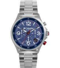 columbia men's canyon ridge silver-tone chronograph bracelet watch 45mm