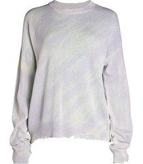 rta women's emma distressed cotton sweater - grey - size l