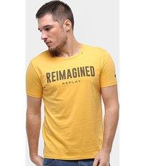 camiseta replay reimagined masculina - masculino
