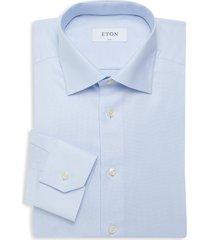 eton men's slim-fit textured dress shirt - blue - size 15
