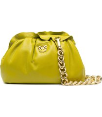 pinko logo-plaque ruched clutch - t56 lime