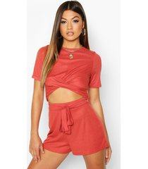 twist front rib top & belted shorts co-ord, rust