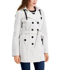 bcx juniors' solid double-breasted belted fleece coat