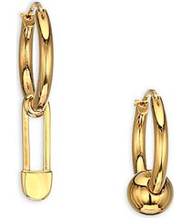 mismatched kilt pin & ball charm hoop earrings