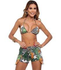 shorts de praia estampado maré brasil