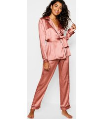 satijnen wikkel pyjama set met ceintuur, mink