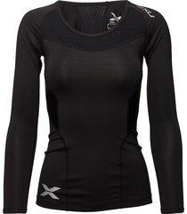 compression l/s top-w t-shirts & tops long-sleeved zwart 2xu