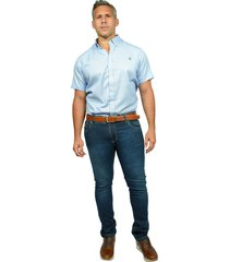camisa de vestir azul rayas blancas