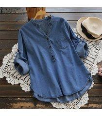 zanzea mujeres de manga larga ajustable blusa ocasional del dril de algodón azul tops botones de la camisa -azul claro