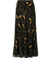 andrea marques silk midi skirt - black