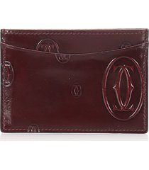 cartier happy birthday patent leather card holder red, bordeau sz: