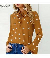 zanzea manga larga para mujer casual del lunar blusa de la gasa señoras de la oficina tapas de la camisa -amarillo