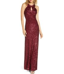 women's morgan & co. halter sequin gown