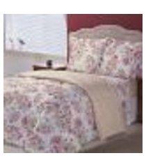 jogo de cama queen 150 fios algodão seattle bege