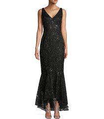 embroidery sequin trumpet gown