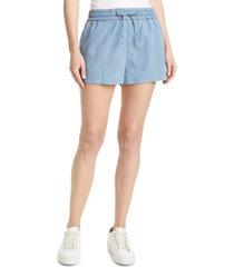women's alice + olivia whitney drawstring chambray shorts, size x-large - blue