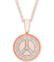 diamond (1/10 ct. t.w.) peace sign pendant in 14k yellow or rose gold