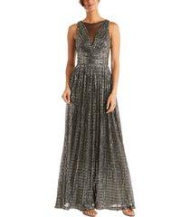 nightway metallic illusion gown