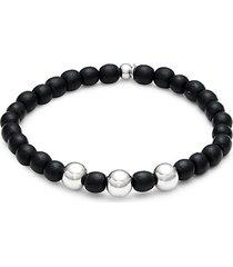 sterling silver & ebony wood beaded bracelet