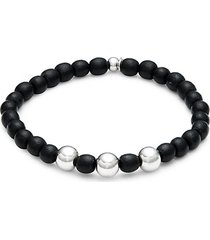 sterling silver & ebony wood beaded bracelet
