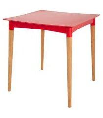 mesa quadrada tramontina 92353040 diana pernas de madeira vermelha